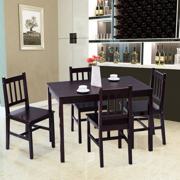 Solid Wood Kitchen Table And Chairs: Shop Costway 5PCS Solid Pine Wood Dining Set Table And 4