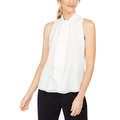 Calvin Klein Women's Petite Ruffle-Front Mock-Neck Top White Petite