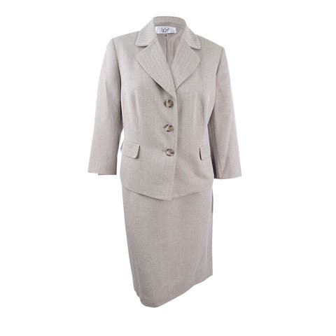 Le Suit Women's Plus Size Herringbone Three-Button Skirt Suit - Khaki Multi