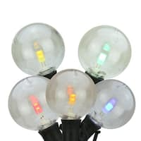 """Set of 25 Multi-Color LED G40 Commercial Grade Patio or Christmas Lights 8"""" Spacing - Black Wire"""