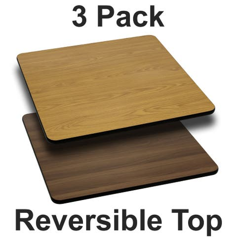 "3PK 24"" Square Table Top with Natural or Walnut Reversible Laminate Top"