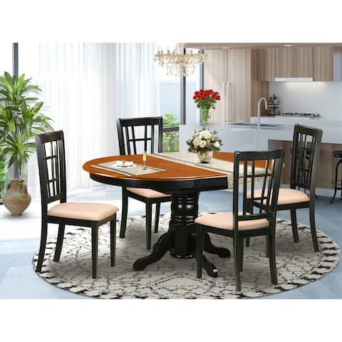 5 PC Kitchen Table set - Dining Table with 4 Kitchen Chairs - Black and Cherry Finish (Pieces Option)