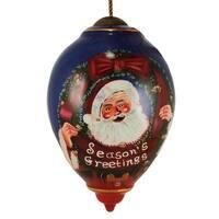 "Ne'Qwa ""Season's Greetings"" Hand-Painted Blown Glass Christmas Ornament #7131158 - BLue"