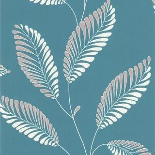 Brewster DL30467 Aubrey Aqua Modern Leaf Trail Wallpaper