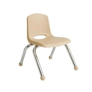 Early Childhood Resources 10 in. Stack Chair - Chrome Leg, Sand
