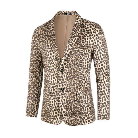 Men Vintage Leopard Print Luxury Notched Lapel Slim Fit Fashion Stylish Jacket Blazer - Brown