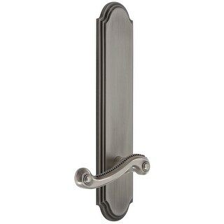 Grandeur ARCNEW_TP_PSG_238_RH  Arc Solid Brass Tall Plate Rose Right Handed Passage Door Lever Set with Newport Lever and 2-3/8""