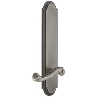 Grandeur ARCNEW_TP_SD_NA_LH  Arc Solid Brass Tall Plate Rose Left Handed Single Dummy Door Lever with Newport Lever