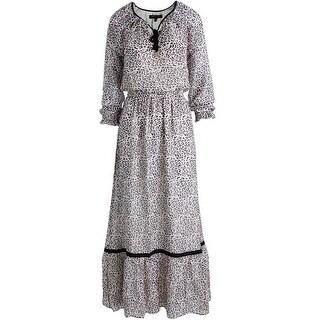 Juicy Couture Black Label Womens Empress Leopard Print Chiffon Maxi Dress