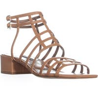 Nine West Xerxes Caged Block Heel Sandals, Dark Natural