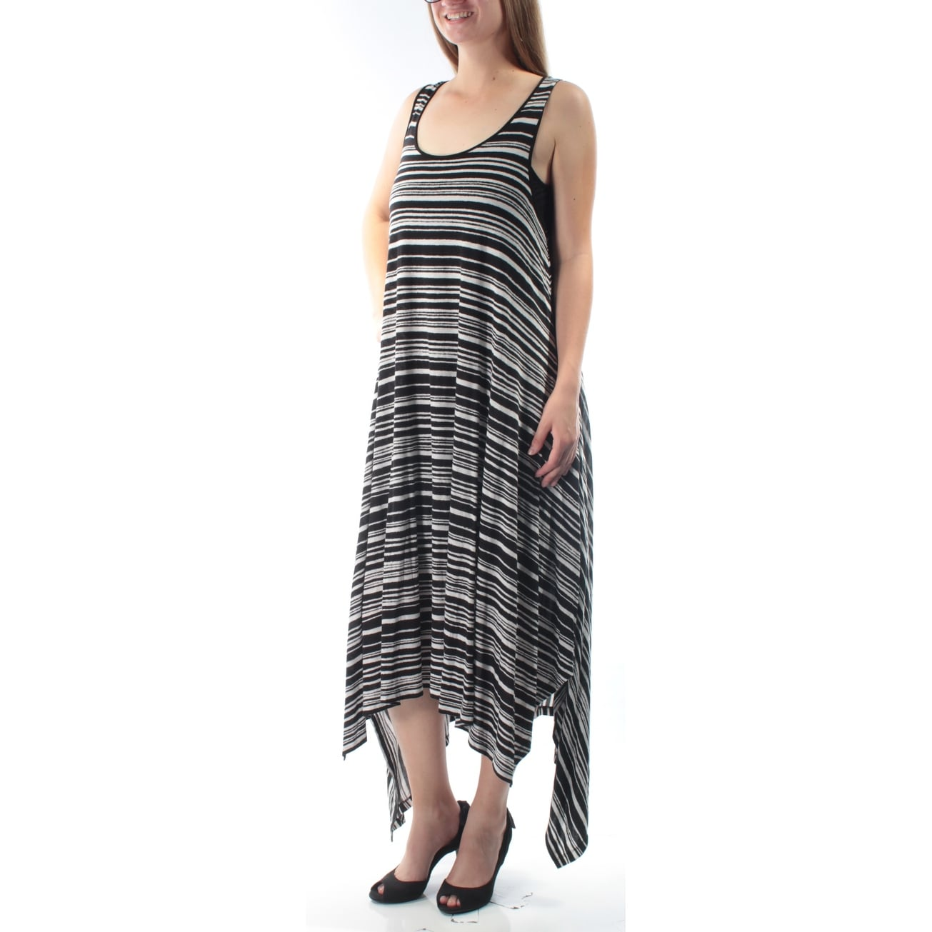 Striped Sleeveless Jewel Neck Maxi