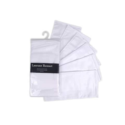 Men's White Plain Soft Finish 6 PCS Pocket Square Handkerchiefs - Regular