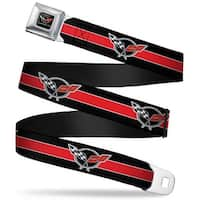 Corvette C5 Logo Full Color Black Gray White Red Corvette C5 Logo Stripe Seatbelt Belt