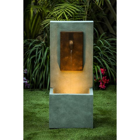 Gray and Brown Column Cement Outdoor Fountain with LED Light