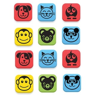 (3 St) Magnetic Erasers Animals 12 Per Set