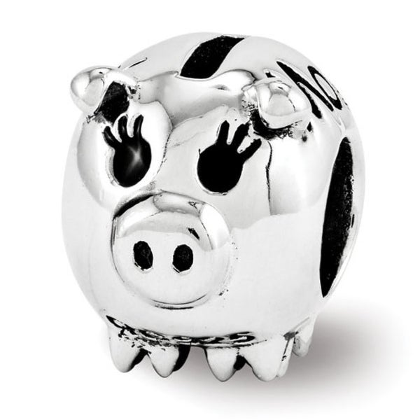 Sterling Silver Reflections Fun Money Piggy Bank Bead (4mm Diameter Hole)
