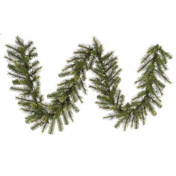 "9' x 16"" Pre-Lit Jack Pine Artificial Christmas Garland - Clear Lights - green"