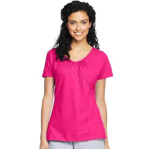 Hanes Women's Slub Jersey Shirred V-Neck - Size - L - Color - Amaranth