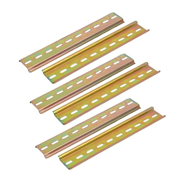 200mm Length Metal Straight Edge DIN Rail Bronze Tone 6pcs