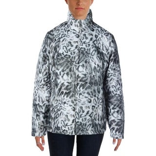 Alfred Dunner Womens Printed Long Sleeves Puffer Coat