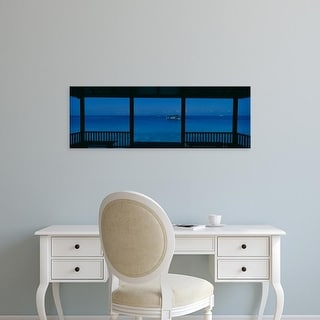 Easy Art Prints Panoramic Images's 'Boats in the ocean, Maldives' Premium Canvas Art