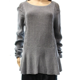 Culler NEW Gray Women's Size Large L Peplum Tunic Scoop Neck Sweater