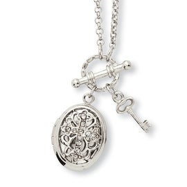 Silvertone Clear Crystal Cross Locket Necklace - 24in
