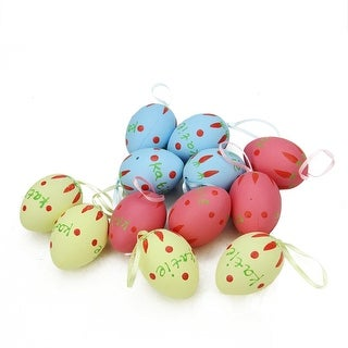 """Set of 12 Pastel Yellow, Blue and Pink Spring Easter Egg Ornaments 2.25"""""""