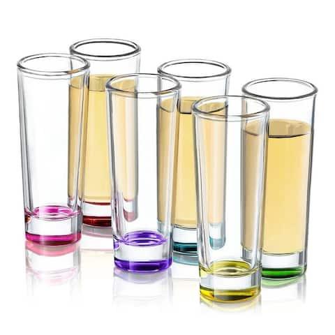 JoyJolt Hue Colored Shot Glasses, 6 Piece 2 oz Shot Glass