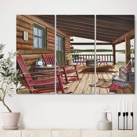 Designart 'Sleeping Dog At The Lake House' Lake House Canvas Art Print - 36x28 - 3 Panels