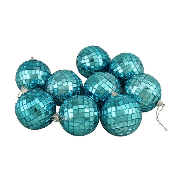 9ct Peacock Blue Mirrored Glass Disco Ball Christmas Ornaments 2 5 60mm N A