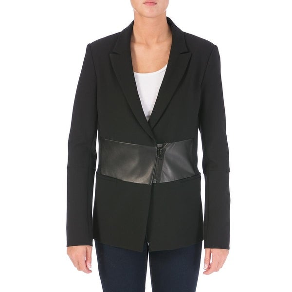 Tibi Womens Blazer Lamb Leather Trim