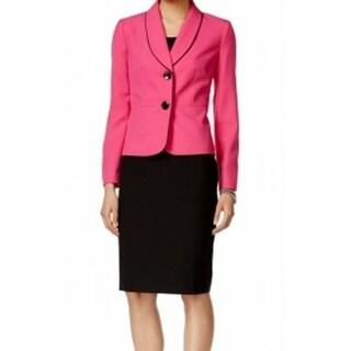 Le Suit NEW Pink Black Women's Size 12 Contrast Skirt Suit Set