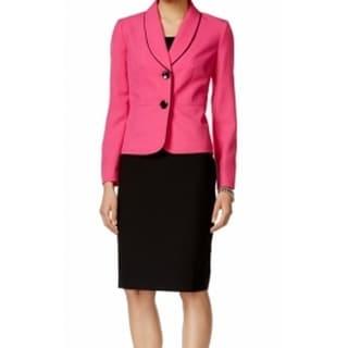 Le Suit NEW Pink Black Women's Size 6 Contrast Trim Skirt Suit Set