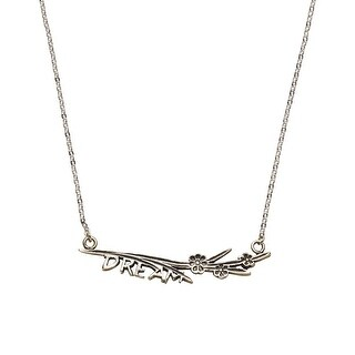 """Floriana Women's Dream Bar Necklace- 2"""" Wide Silver-Plated Inspirational Jewelry"""