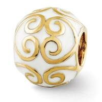 Sterling Silver Reflections Gold-plated & Enameled Bali Bead (4mm Diameter Hole)