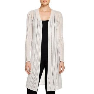 Eileen Fisher Womens Petites Cardigan Sweater Tencel Shadow Stripe