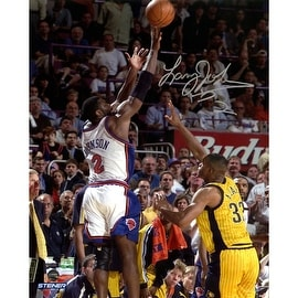 """Larry Johnson Signed """"4-Point Play"""" 8x10 Photo"""