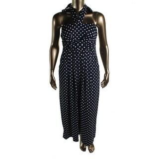 Love Squared Womens Plus Matte Jersey Polka Dot Maxi Dress - 2X