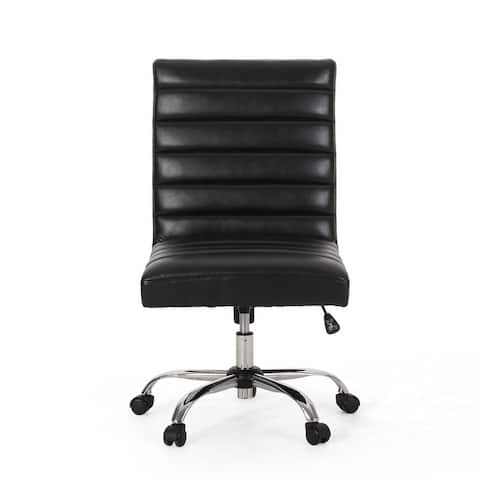 Sagle Contemporary Channel Stitch Swivel Office Chair by Christopher Knight Home