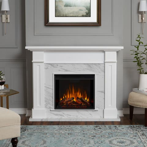 Kipling Electric Fireplace White Marble