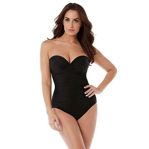 Miraclesuit Rock Solid Madrid Bandeau Swimsuit Detachable Straps, Black, 14