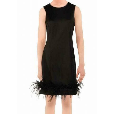 Donna Ricco Women's Dress Black Size 8 Sheath Feather-Hem Crewneck