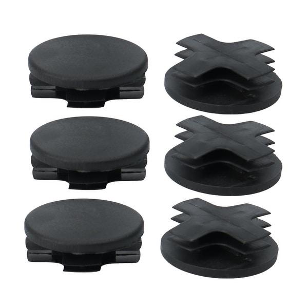 "6pcs 38mm OD Plastic Round Tube Insert Ribbed Pipe Cover Caps Black Table Floor Protector, 1.38""-1.46"" Inner Dia"