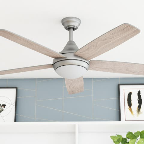 "52"" Prominence Home Ashby Indoor Modern Ceiling Fan with Remote, Pewter"