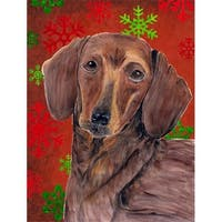 11 x 15 in. Dachshund Red and Green Snowflakes Holiday Christmas