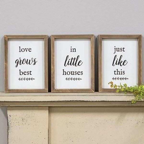3/Set Love Grows Best Framed Signs