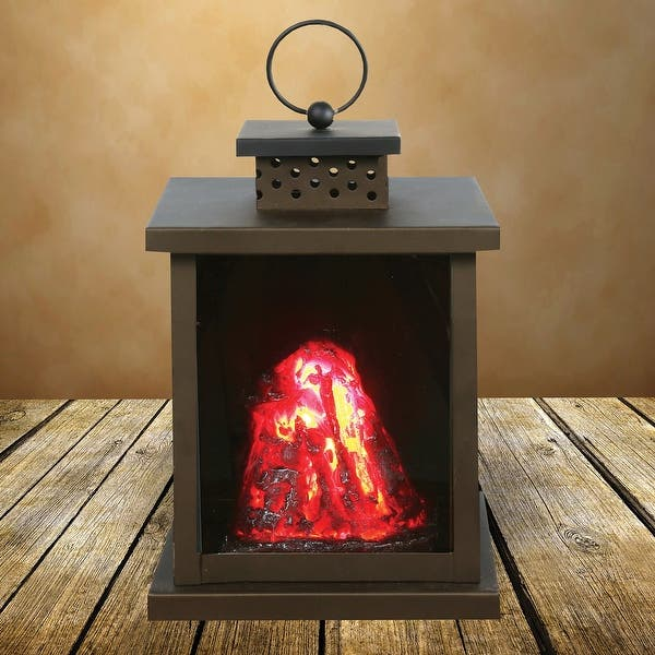 What On Earth Led Volcano Lantern Battery Operated Indoor Black Metal Accent Lamp And Nightlight 5 X 6 3 9
