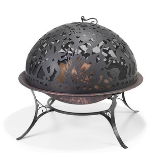 "34"" Handcrafted Full Moon Party Steel Fire Dome with Fire Pit"