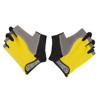 Outdoor Sport Anti Skid Half Finger Protector Gloves Yellow M Size Pair